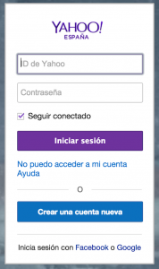 Iniciar sesion Yahoo