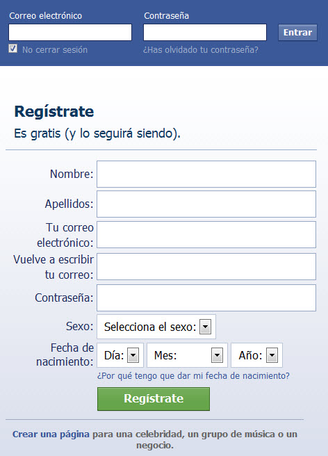 Crear Facebook